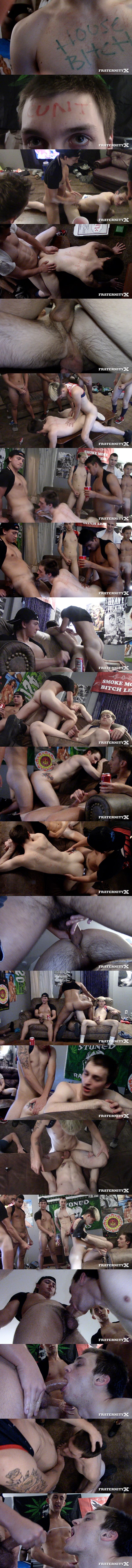Fraternityx - frat dudes Chase Daniels, Jay Seabrook, Kade Rivers, Levi Whitman and Masyn Thorne gangbang and bareback Quincy Green's virgin ass before they give Quincy big facials in House Bitch 02