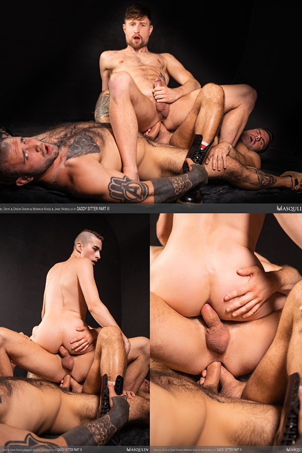 Masqulin - Veteran porn star Manuel Skye and former MMA fighter Markus Kage double penetrate Drew Dixon and Jake Nobello before Manuel fucks the cum out of Jake and breeds him in Daddy Sitter Part 3 01