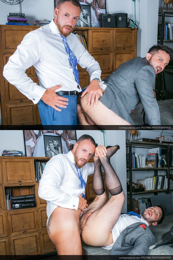 Menatplay - rugged macho daddy Leo Rosso barebacks handsome muscle bottom Kike Gil in the office before he gives Kike a thick facial in Peeping Photographer 01
