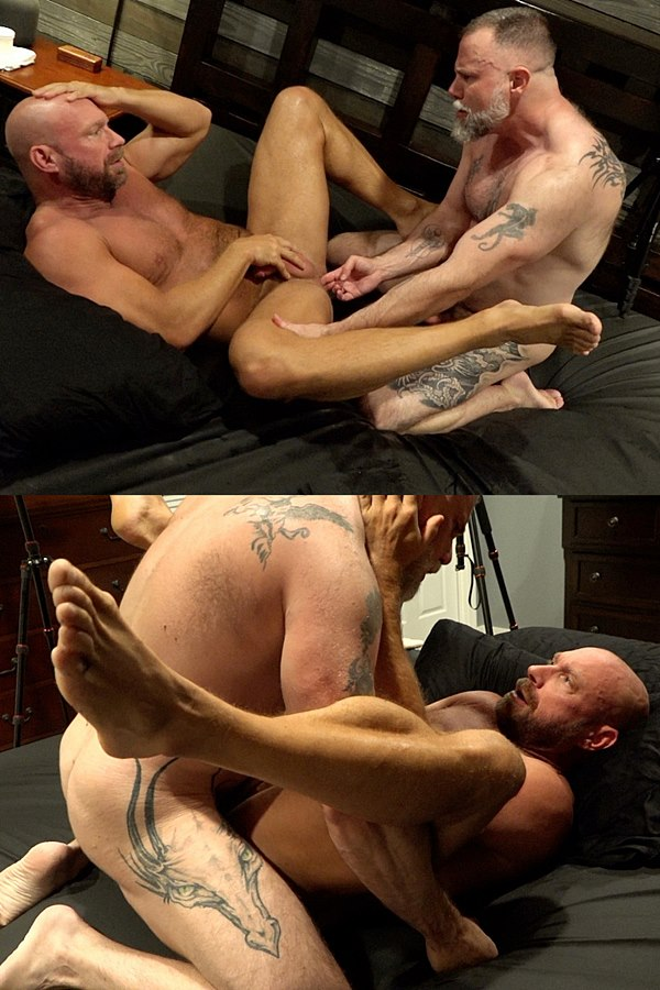 Musclebearporn - hairy muscle bear Liam Angell barebacks bald macho daddy Killian Knox in missionary and doggy style before he creampies Killian with a thick daddy load in Feeding Daddy Some Boy Load 01