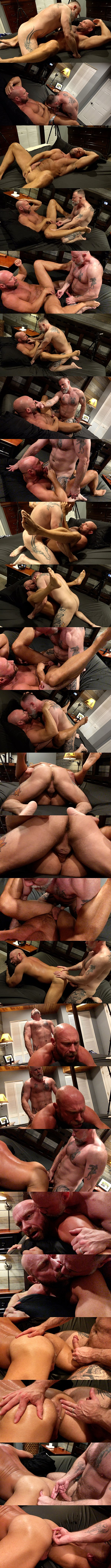 Musclebearporn - hairy muscle bear Liam Angell barebacks bald macho daddy Killian Knox in missionary and doggy style before he creampies Killian with a thick daddy load in Feeding Daddy Some Boy Load 02