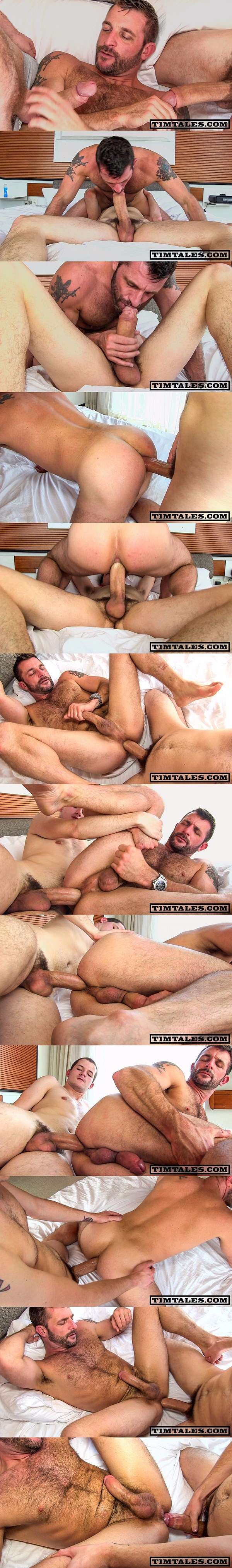 Timtales - Big-cocked twink Devin Moss barebacks masculine hairy daddy Morgan Black before he fucks the cum out of Morgan and creampies him 02