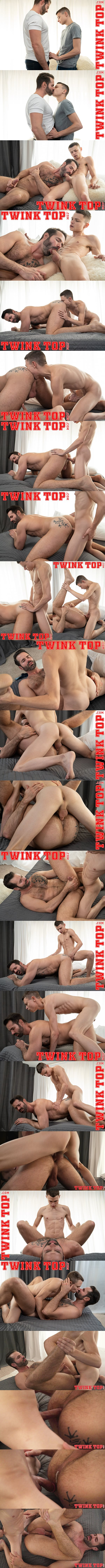 Twinktop - twink Austin Young (aka Austin Armstrong) barebacks handsome bearded muscle daddy Dani Robles before he creampies Dani in an older younger scene in Extra Innings 02