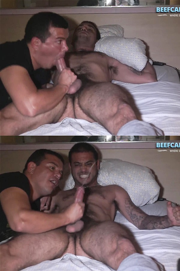 Beefcakehunter - Victor deep throats sexy hairy straight guy Chico's cock and licks his balls before he strokes a nice creamy load out of Chico's hard cock in Dark Motel Encounter 01