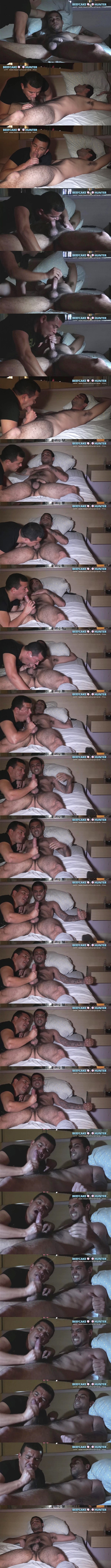 Beefcakehunter - Victor deep throats sexy hairy straight guy Chico's cock and licks his balls before he strokes a nice creamy load out of Chico's hard cock in Dark Motel Encounter 02
