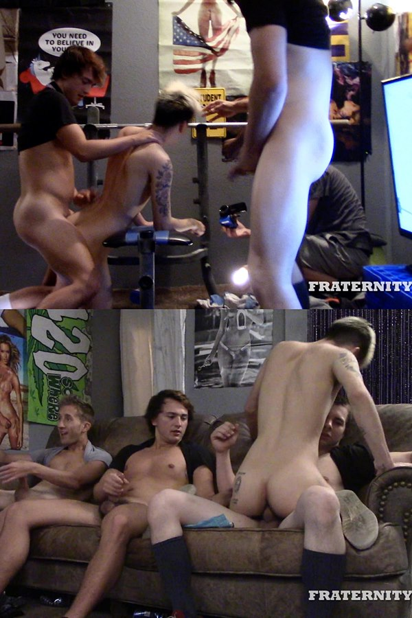 Fraternityx - Horny frat tops Chase Daniels, Jay Seabrook, Levi Whitman and Masyn Thorne gangbang and bareback Kade Rivers before they breed Kade in Stretched Hole 01
