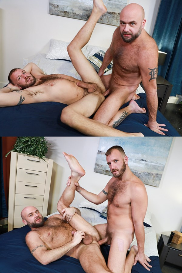 Menover30 - manly fuzzy daddy Chase Ryder and Jax Hammer take turns barebacking each other's firm asses before Chase fucks the cum out of Jax and breeds him in Chase's bottoming debut in Versatile Fur 01