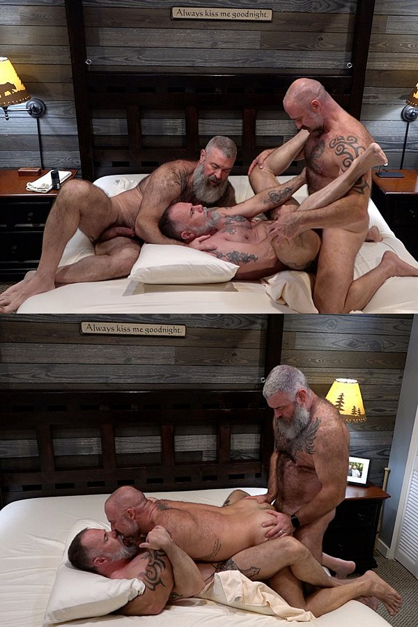 Musclebearporn - hairy muscle daddy Will Angell barebacks Liam Angell and Musclebear Montreal before Montreal creampies Liam in a raw threeway in Muscle Bear Cum Fest 01