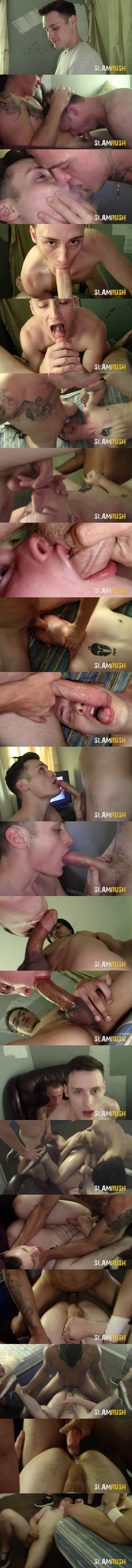 Slamrush - Tony Hawg, Tony Romero and an anonymous street fucker gangbang and bareback house bitch Josh Cannon before they dump loads in John's mouth and ass in Sloppy Slam 02