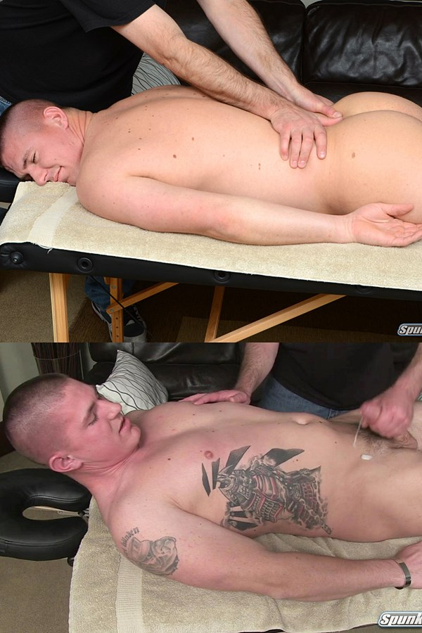Spunkworthy - Fit straight muscle stud, EX Marine Eli gets massaged by a guy for the first time before the masseur strokes a sticky load out of Eli's hard cock in Eli's Massage 01