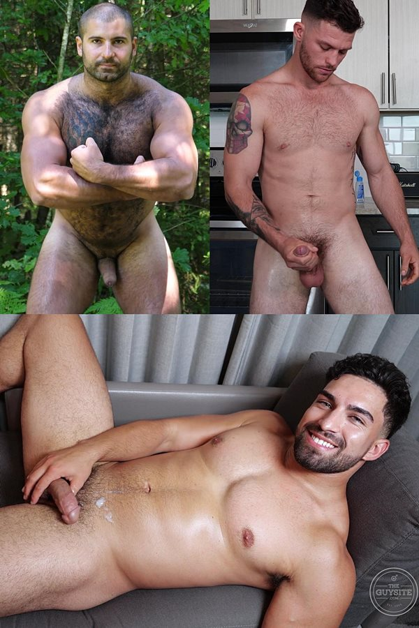 Theguysite - Macho hairy Russian bear Andrei, lean fit tattooed straight jock Josh and LA male stripper Nick show off their naked bodies before they shoot their juicy loads 01