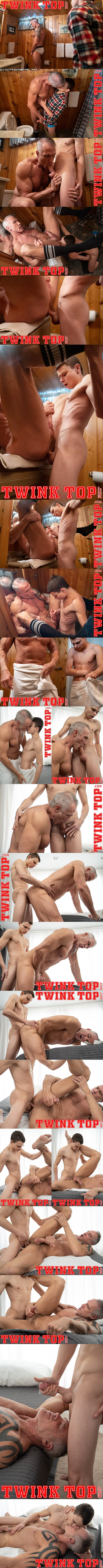 Twinktop - twink boy Austin Young barebacks tall macho daddy Dallas Steele in an older younger scene in sports camp before he cums on Dallas' face in Sports Camp Newbie 02