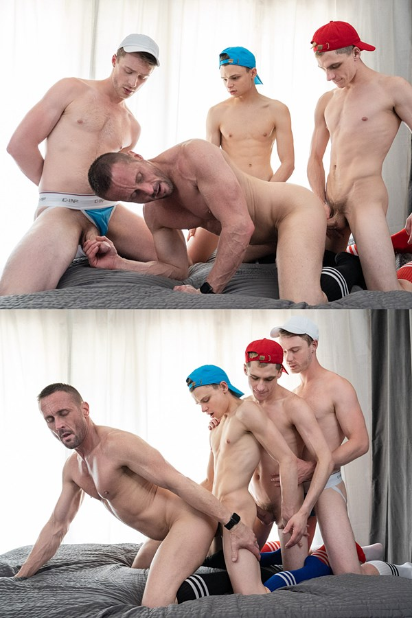 Twinktop - cute twink boys Austin Young, Cole Blue and Marcus Ryan gangbang and bareback masculine coach Myles Landon before they breed Myles three times in Twinks Tag Team Masc Bottom 01