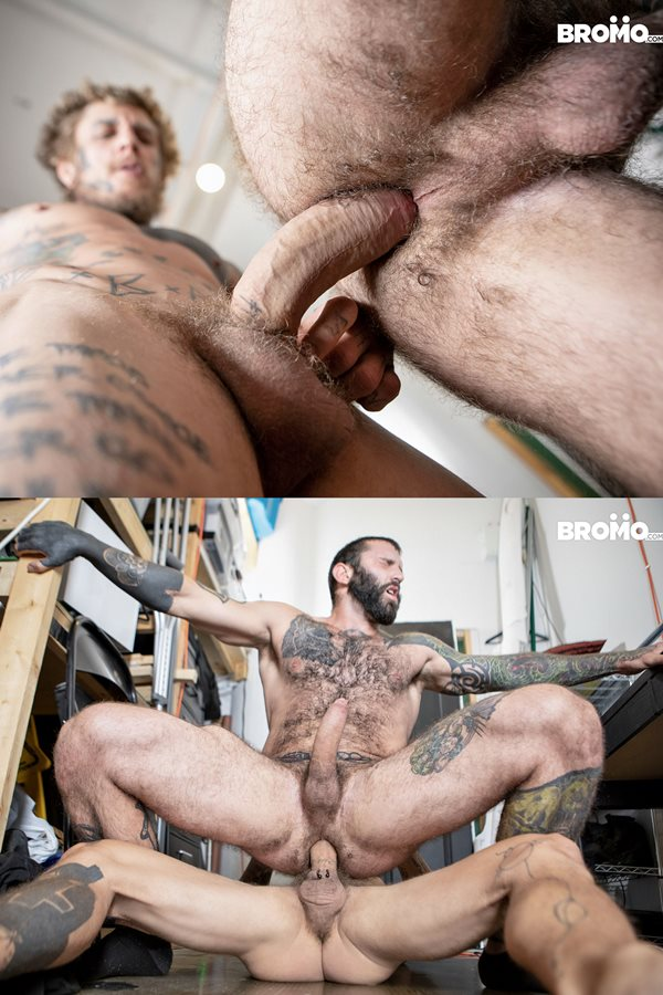 Bromo - Horse hung inked power top Bo Sinn barebacks masculine MMA fighter Markus Kage before he fucks the cum out of Markus and creampies him in Two Burglars One Creampie 01