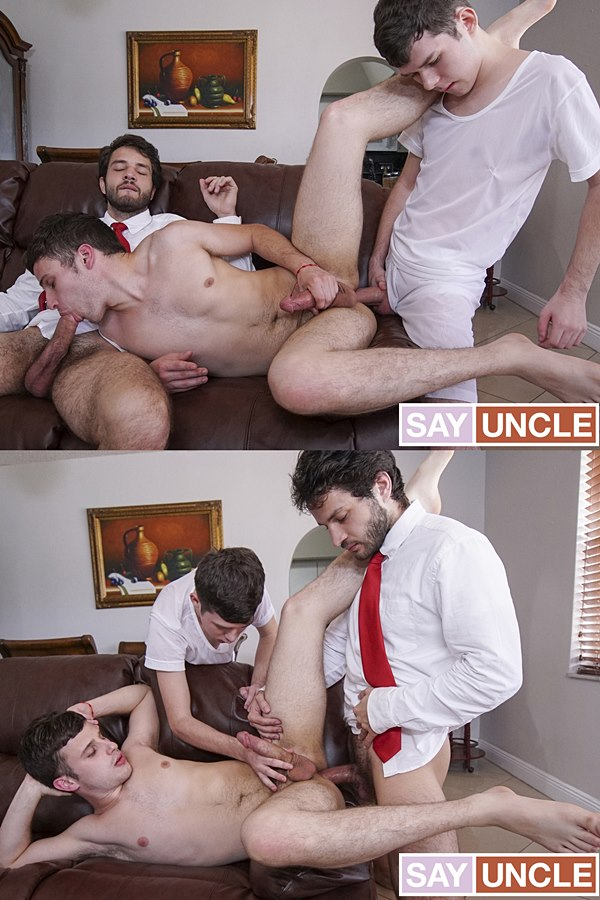Missionaryboys - hung twink Dakota Lovell and sexy bearded dude Dante Drackis tag team and bareback Jesse Avalon before they creampie Jesse in Physical Penitence 01
