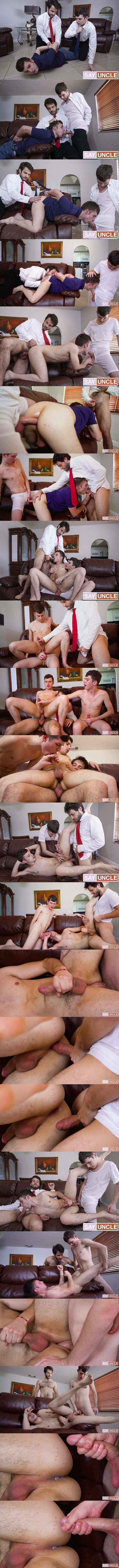 Missionaryboys - hung twink Dakota Lovell and sexy bearded dude Dante Drackis tag team and bareback Jesse Avalon before they creampie Jesse in Physical Penitence 02