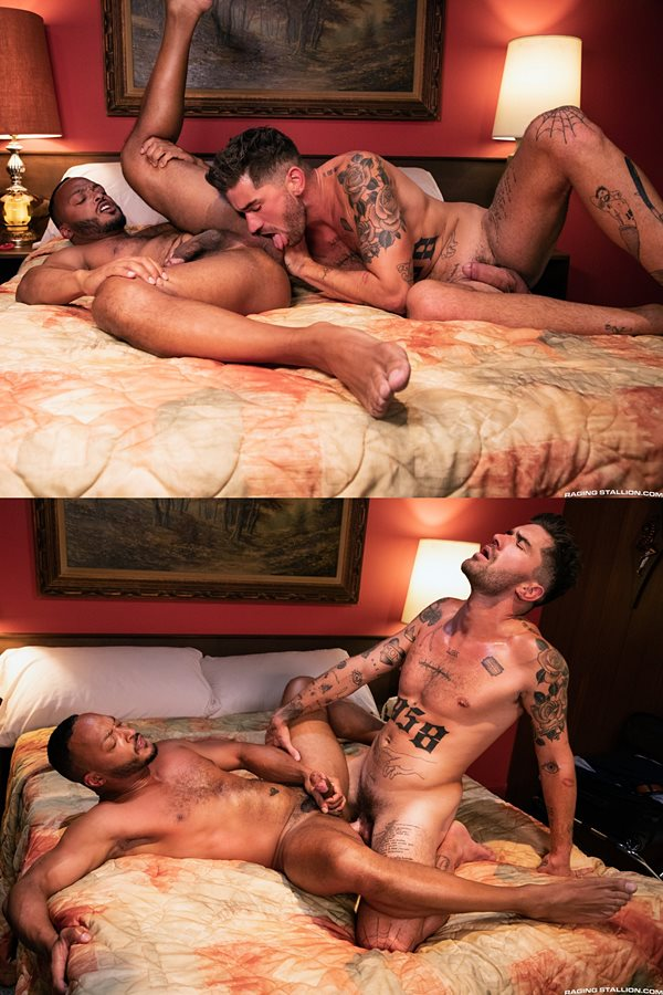 Ragingstallion - handsome porn star Chris Damned barebacks ripped black muscle stud Dillon Diaz before he seeds Dillon with his sticky load 01