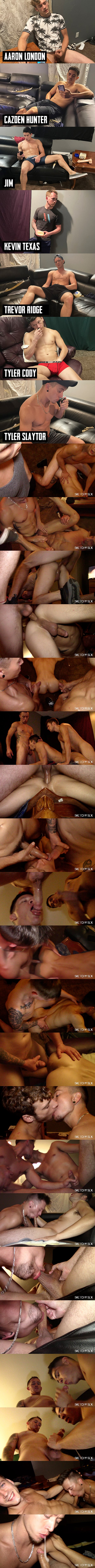 Sketchysex - new sketchy models Kevin Texas, Trevor Ridge and Tyler Slaytor gangbang and bareback cum sluts Jim and Tyler Cody before they breed two bottoms in Loads To Go 02