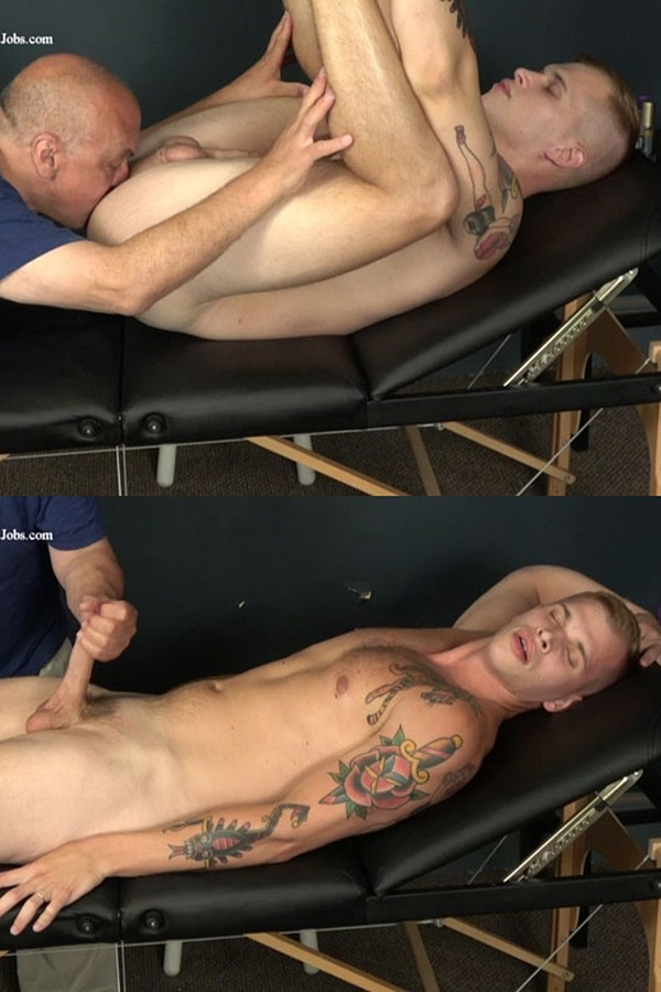 Slowteasinghandjobs - hot newcomer, tattooed straight jock Hunter (aka Dustin Cross) gets slowly sucked, teased, serviced and rimmed before he gets jerked off 01