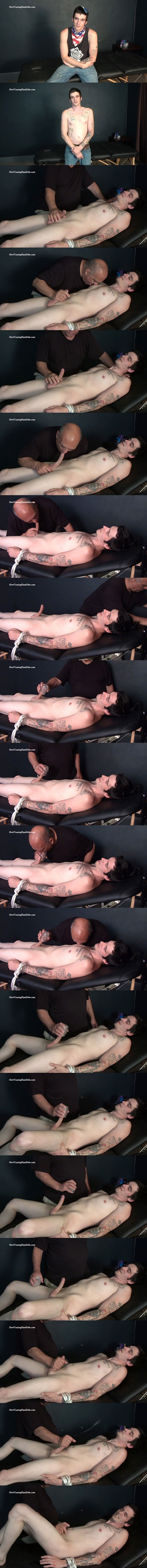 Slowteasinghandjobs - inked bisexual newcomer Stiffler gets tied up naked and slowly teased, serviced, sucked and jerked off in His First Long Distance Cum Shot 02
