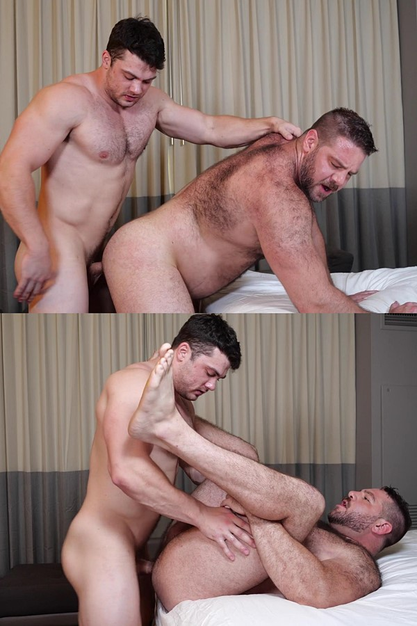 Theguysite - gay porn star Collin Simpson fucks fuzzy muscle bear Teddy Hunter's juicy ass before he fucks the cum out of Teddy in Teddy's bottoming debut 01