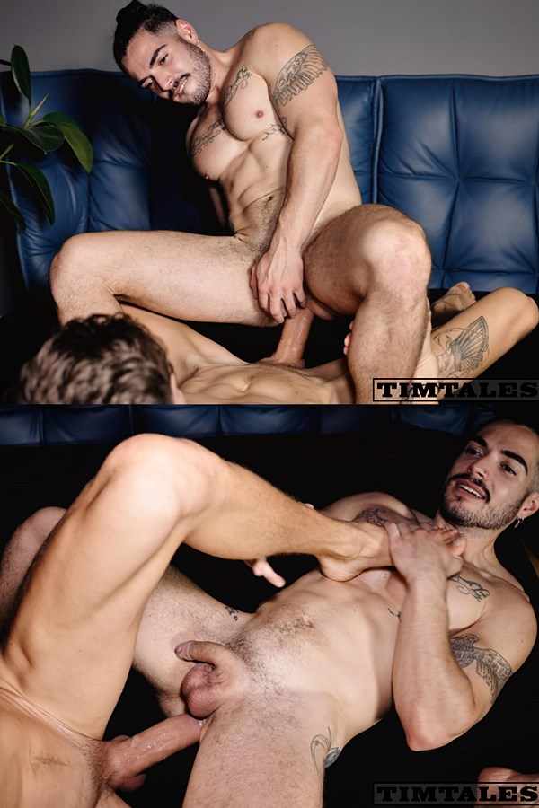 Timtales - hung Russian power top Maksim Orlov barebacks UK inked muscle stud Iggy Lopez before he fucks the cum out of Iggy in Iggy's bottoming debut 01