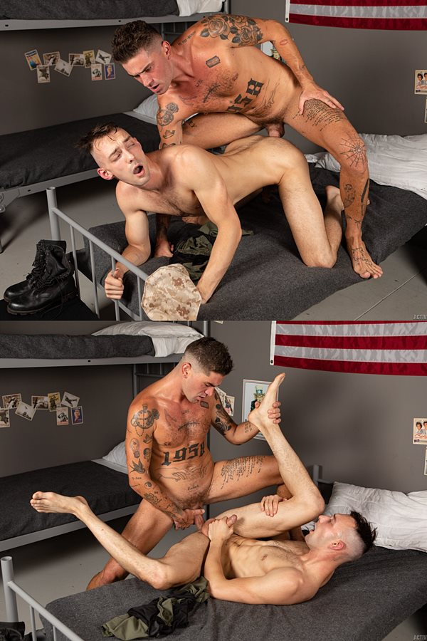 Activeduty - sexy tattooed recruit, handsome European stud Chris Damned barebacks gay porn star Johnny B before he fucks the cum out of Johnny in this military encounter 01