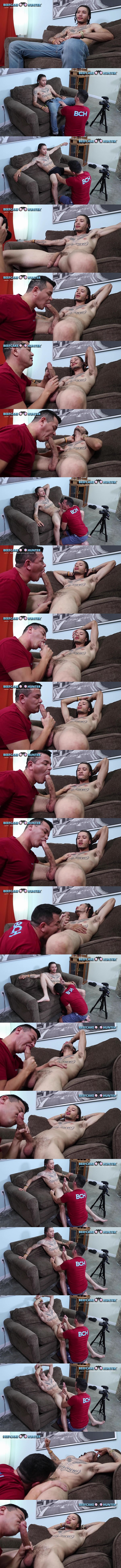Beefcakehunter - Victor worships, deep-throats and strokes straight newcomer Savage's 10 inch cock before he jerks the white jizz out of Savage's hard cock 02