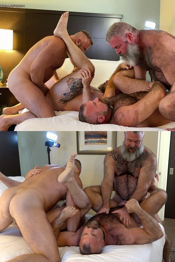 Musclebearporn - Hairy muscle bears, two real couple Thor Buckner, Tigerpouncer, Will Angell and Liam Angell bareback each other in Husband Swap Part 1 01