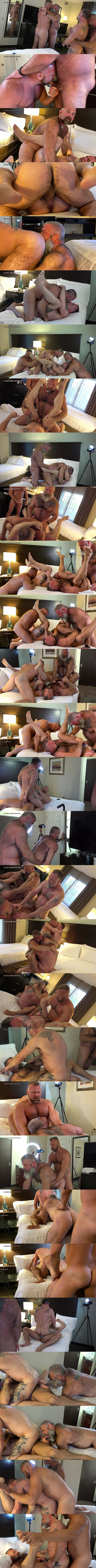 Musclebearporn - Hairy muscle bears, two real couple Thor Buckner, Tigerpouncer, Will Angell and Liam Angell bareback each other in Husband Swap Part 1 02
