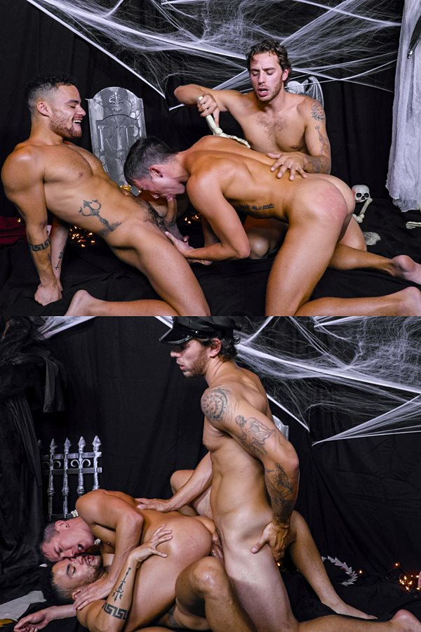 Nextdoorstudios - Beaux Banks and Isaac Parker take turns getting fucked before Carter Woods and Beaux double penetrate and breed Issac in Treats For The Slutty Tricks 01