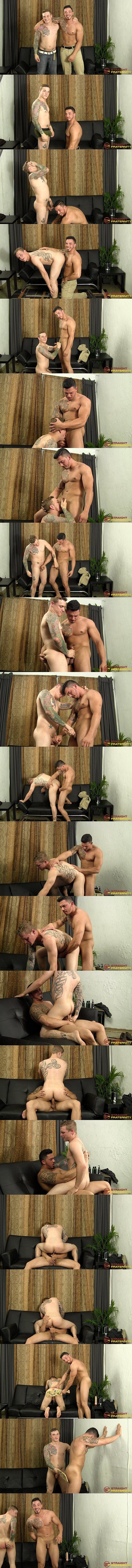 Straightfraternity - Puerto Rican-Cuban straight muscle stud Javy D barebacks inked jock Cory and shoots a sticky load before they paddle each other's bubble butts 02