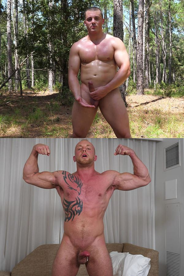 Theguysite - masculine military straight beefcake Lucas and inked hung stud Ryan Faulkner strip down to show their naked muscular bodies before they jerk off for the first time on camera 01