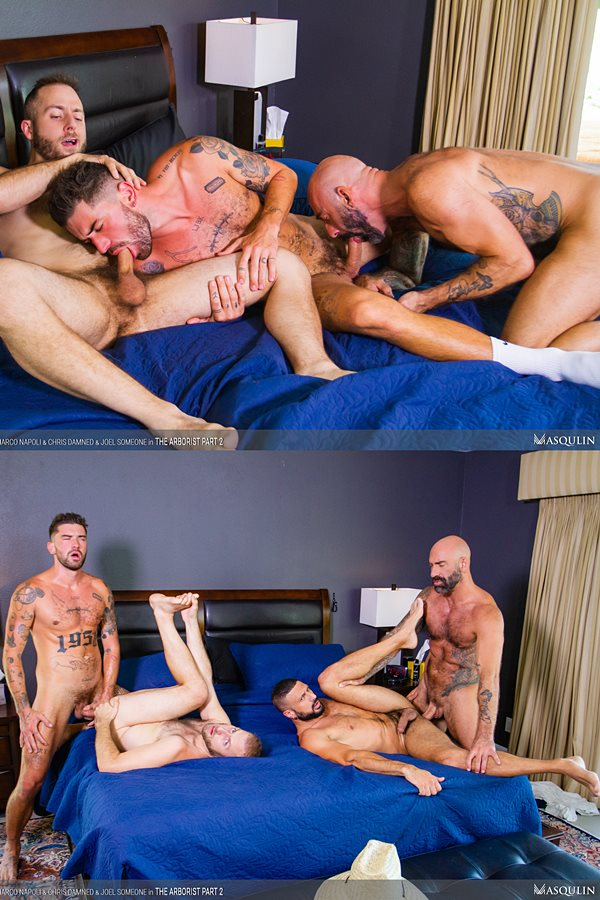 Masqulin - handsome inked stud Chris Damned and masculine hung daddy Drew Sebastian bareback Joel Someone and Marco Napoli before they blow their creamy loads in The Arborists Part 2 01