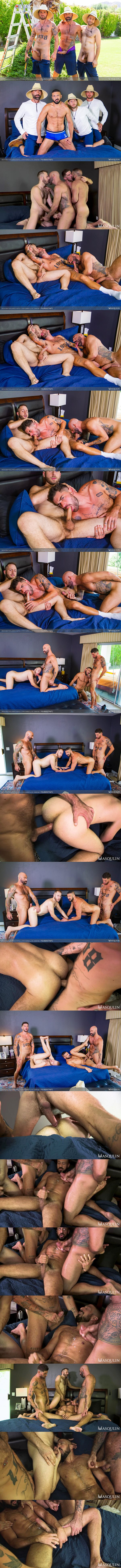 Masqulin - handsome inked stud Chris Damned and masculine hung daddy Drew Sebastian bareback Joel Someone and Marco Napoli before they blow their creamy loads in The Arborists Part 2 02