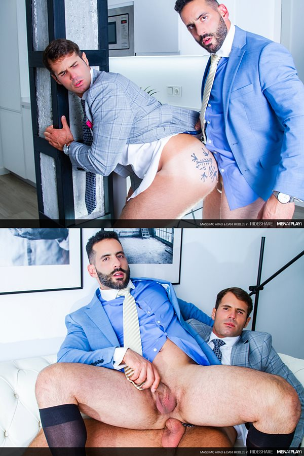 Menatplay - handsome veteran porn star Dani Robles barebacks manly bearded Brazilian buff stud Massimo Arad's muscle butt until he cums all over Massimo's face and suit in Rideshare 01