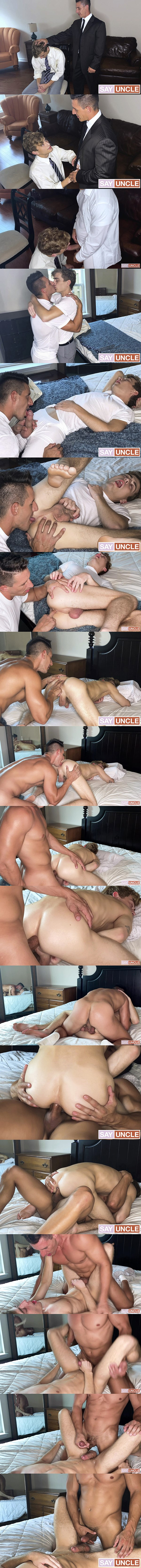 Missionaryboys - hung daddy Bishop Thirio (aka Jax Thirio) barebacks curly-haired twink Elder Bolton (aka Jesse Bolton) before he fucks the cum out of Jesse in this older younger encounter 02