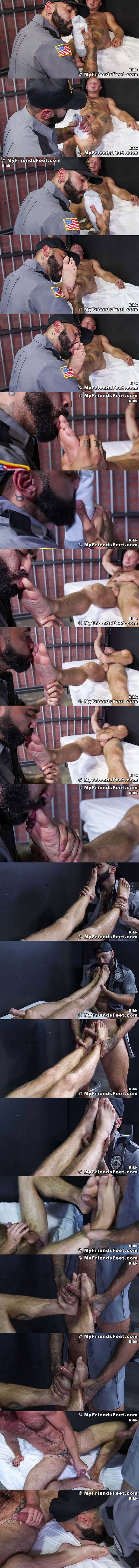 Myfriendsfeet - newcomer Chad Tyler (aka Chad Taylor) gets his sweaty socks and bare feet worshiped by bearded porn star Rikk York before Rikk fucks Chad's feet in Guard Rikk Owns Chad's Feet 02