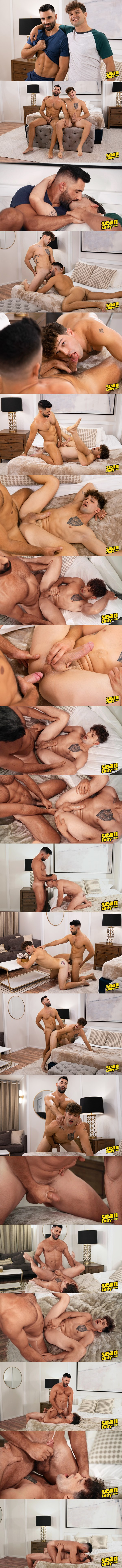 Seancody - sexy bearded newcomer, handsome muscle stud Levi barebacks superstar Brysen in different positions before he fucks two loads out of Brysen and creampies him 02
