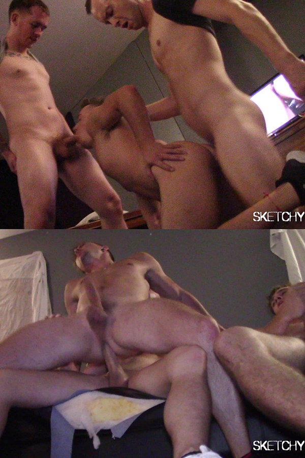 Sketchysex - sketchy tops Aaron London, Kevin Texas and Trevor Ridge gangbang and bareback Tyler Cody and Tyler Slaytor until they creampie two bottom bitches in Enternally Addickted 01