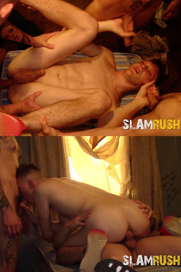Slamrush - street strangers Jake Hart, Jeremy G, Justin Case and Matt gang bang and bareback twink bottom slut Holt Wood before they breed Holt in Slam Central 01