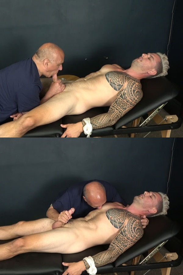 Slowteasinghandjobs - Master Rich slowly teases, strokes and sucks hunky male stripper Ronnie's cock before he milks a creamy load out of Ronnie's hard pole in Muscular Stripper Hand Job 01