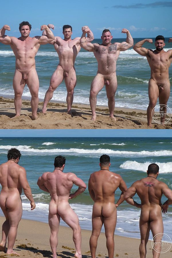 Theguysite - beefcake Collin Simpson, Damien Stone, Ludvig, Nick LA and Jack pose their muscular bodies and have a naked run at the beach in Muscle Men Nude Beach 2 01