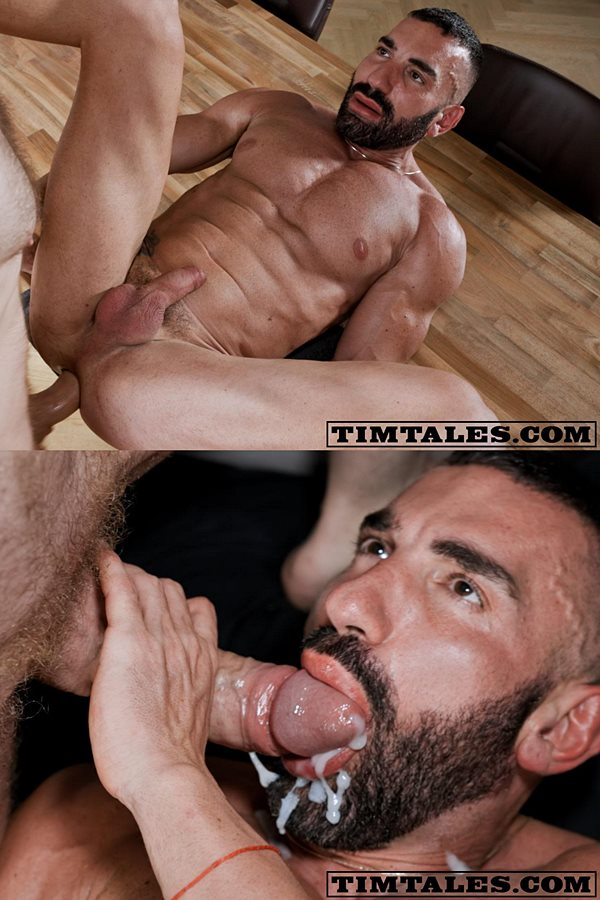 Timtales - big-cocked power top Tim Kruger barebacks bearded manly newcomer, Bulgarian bodybuilder Kai Marcos hard and deep before he dumps a thick load on Kai's face 01