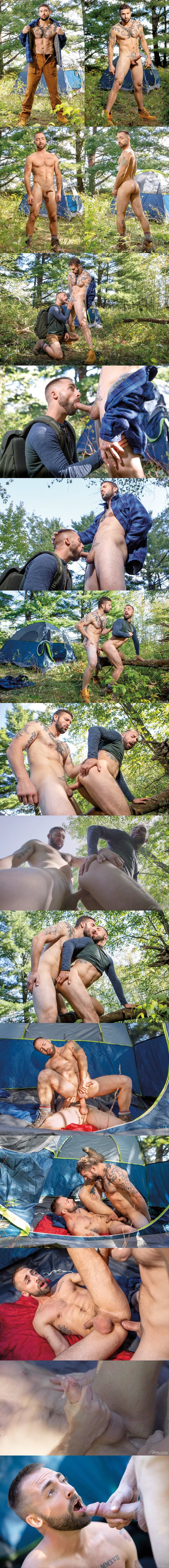 Falconstudios - macho inked straight hunk Derek Thibeau barebacks newcomer Jeremy London outdoors before he fucks the cum out of Jeremy and gives him a facial in Into The Woods 02