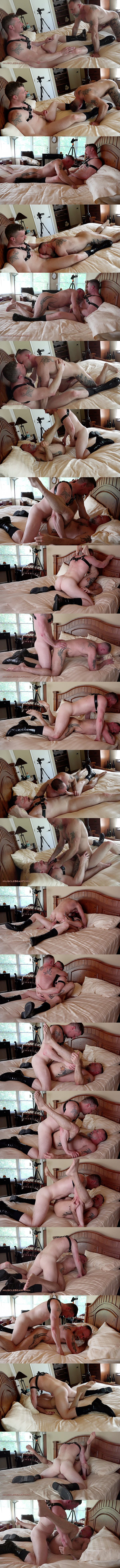 Musclebearporn - macho leather daddy Jack Reed barebacks fuzzy daddy bear Liam Angell in different positions before he fucks the cum out of Liam in Taming The TimberWolf 02
