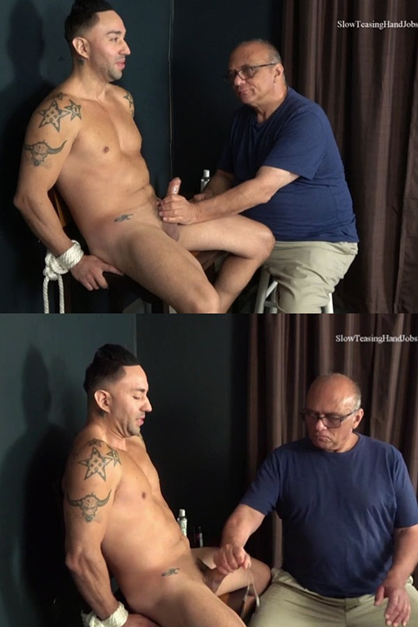 Slowteasinghandjobs - Tattooed straight beefcake DJ gets tied up before he gets slowly teased, serviced, edged, jerked off and tickled by master Rich 01