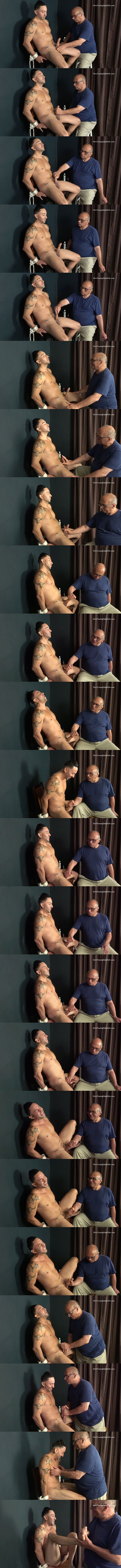 Slowteasinghandjobs - Tattooed straight beefcake DJ gets tied up before he gets slowly teased, serviced, edged, jerked off and tickled by master Rich 02