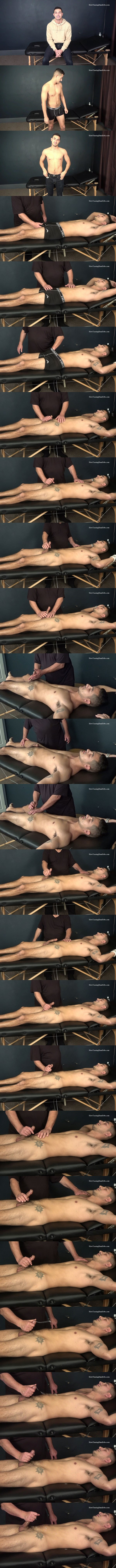 Slowteasinghandjobs - lean fit straight guy Tim gets tied to the massage table before master Rich slowly teases and strokes Tim's cock until Tim shoots his creamy loads 02