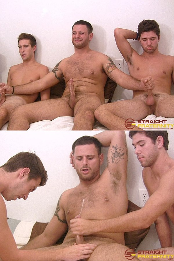 Straightfraternity - hot straight jocks Brody, Denver and Tony do gay for pay for the first time before they kiss, suck and stroke each other's cocks 01
